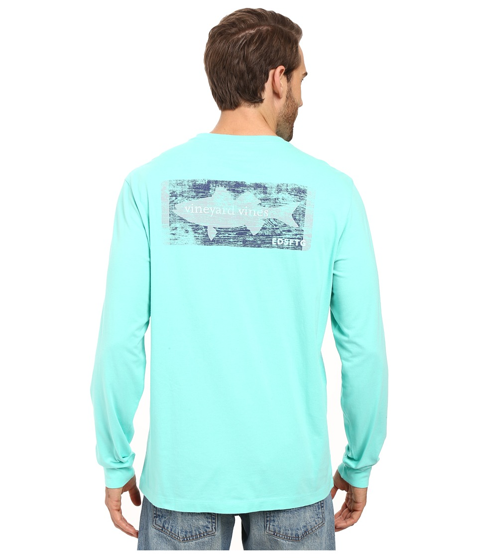 Vineyard Vines - Long Sleeve Boathouse Sign T-Shirt (Capri Blue) Men's Clothing