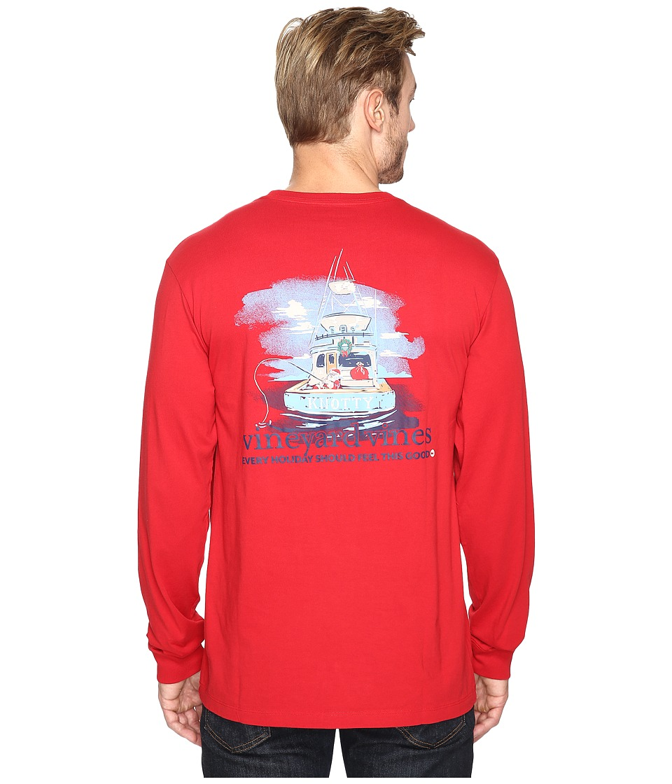Vineyard Vines - Long Sleeve Santa Sportfishing T-Shirt (Vermilion) Men's Clothing