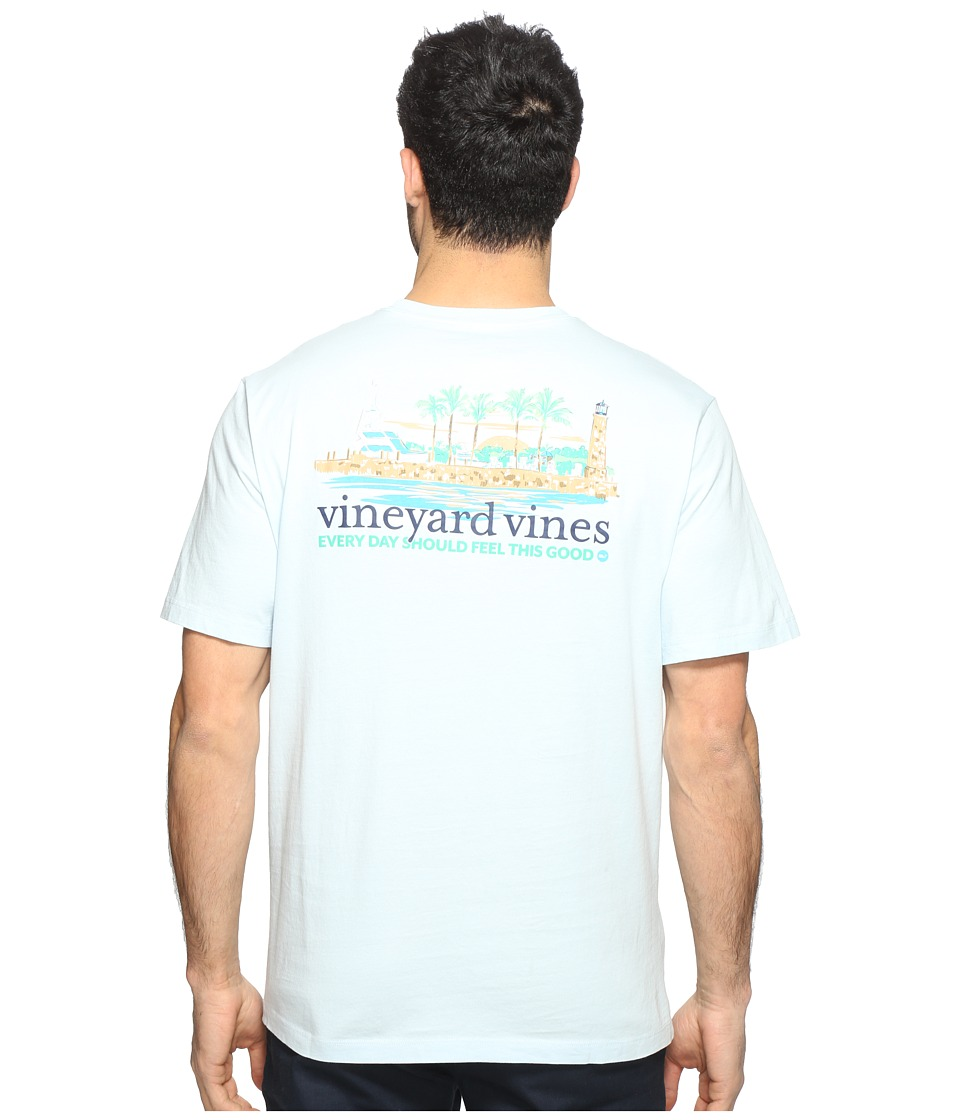 Vineyard Vines - Short Sleeve Club Scene T-Shirt (Surf Blue) Men's Clothing