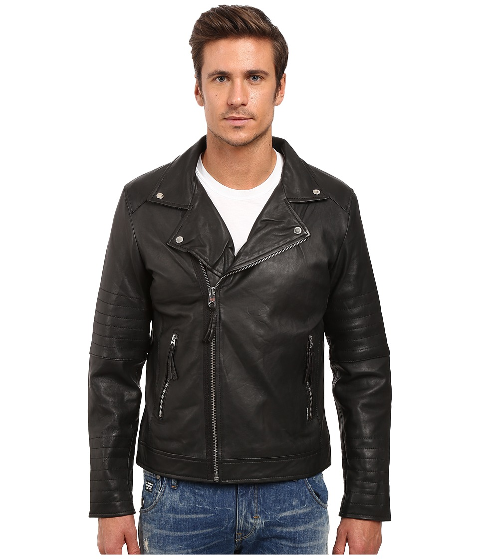 Members Only - Genuine Leather/Lamb Milano Modern Motor Jacket (Black) Men's Coat
