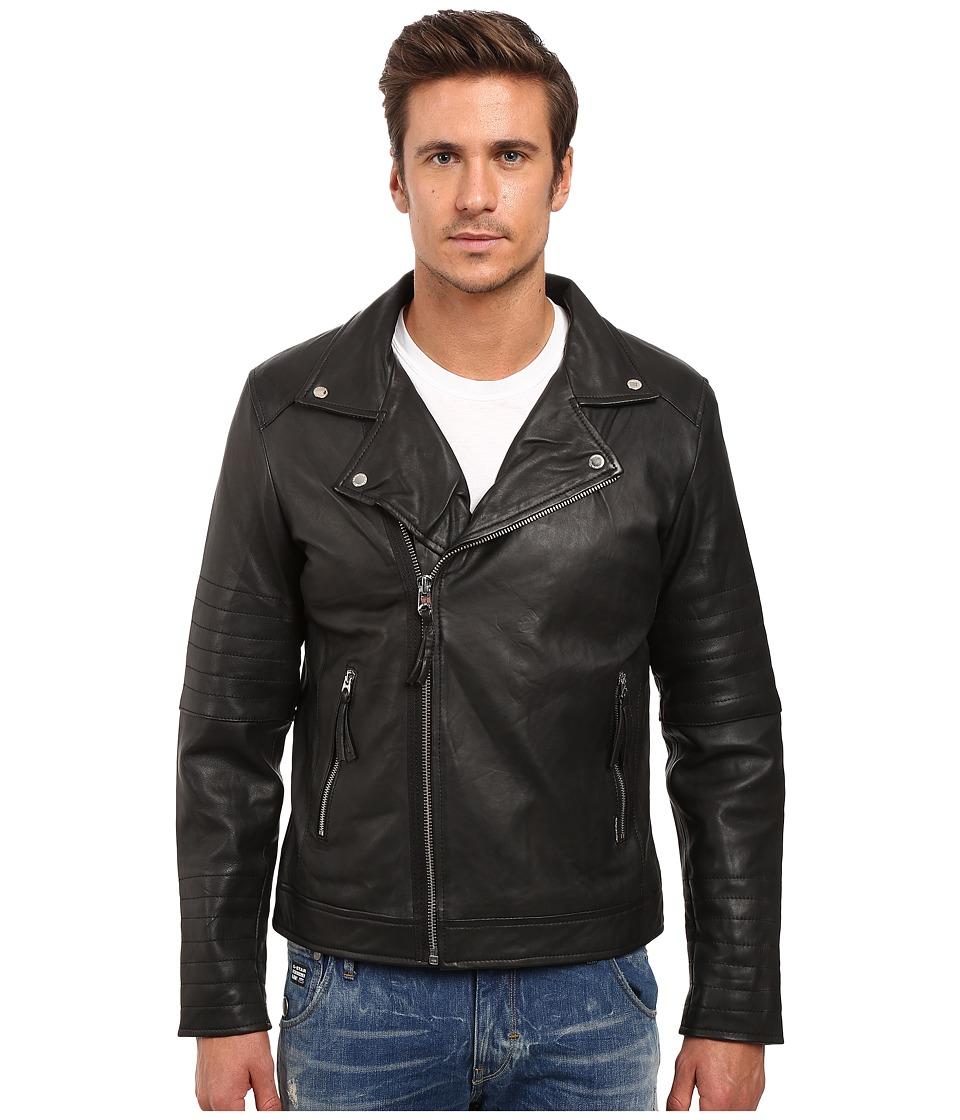 Members Only - Genuine Leather/Lamb Milano Modern Motor Jacket (Black) Men's Coat