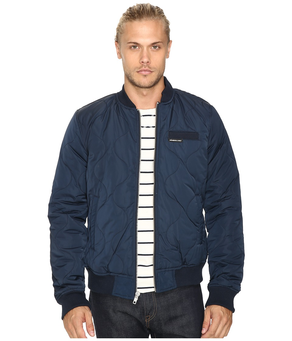 Members Only - Oval Quilted Bomber Puffer Jacket (Navy) Men's Coat