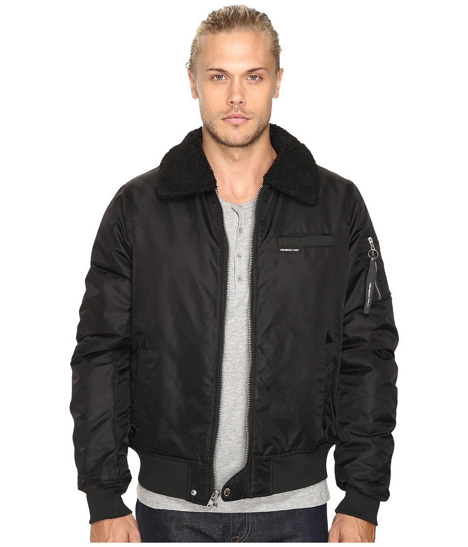 Members Only - Military Bomber Jacket with Sherpa Collar (Black) Men's Coat