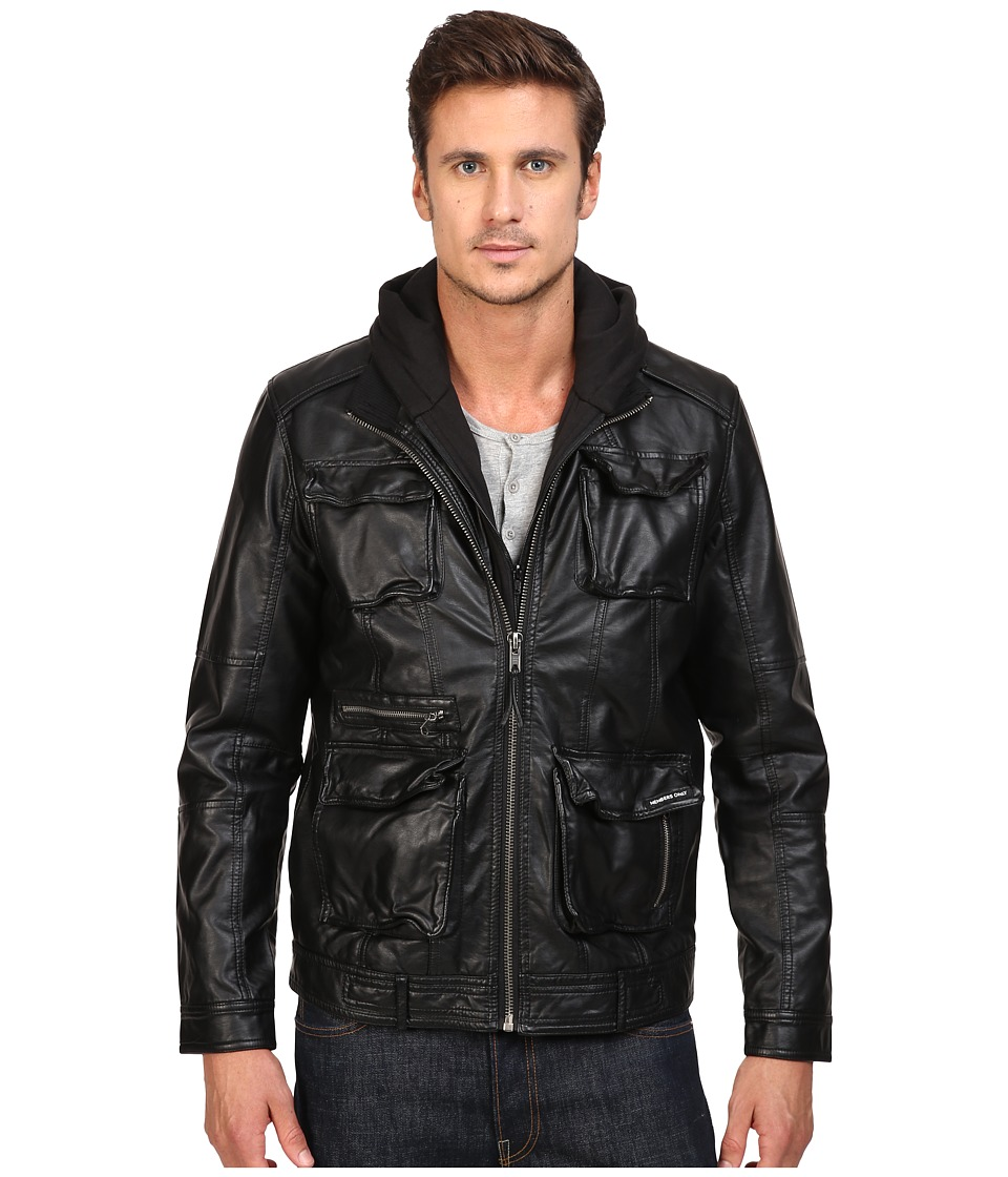 Members Only - L-Train Washed PU Jacket (Black) Men's Coat