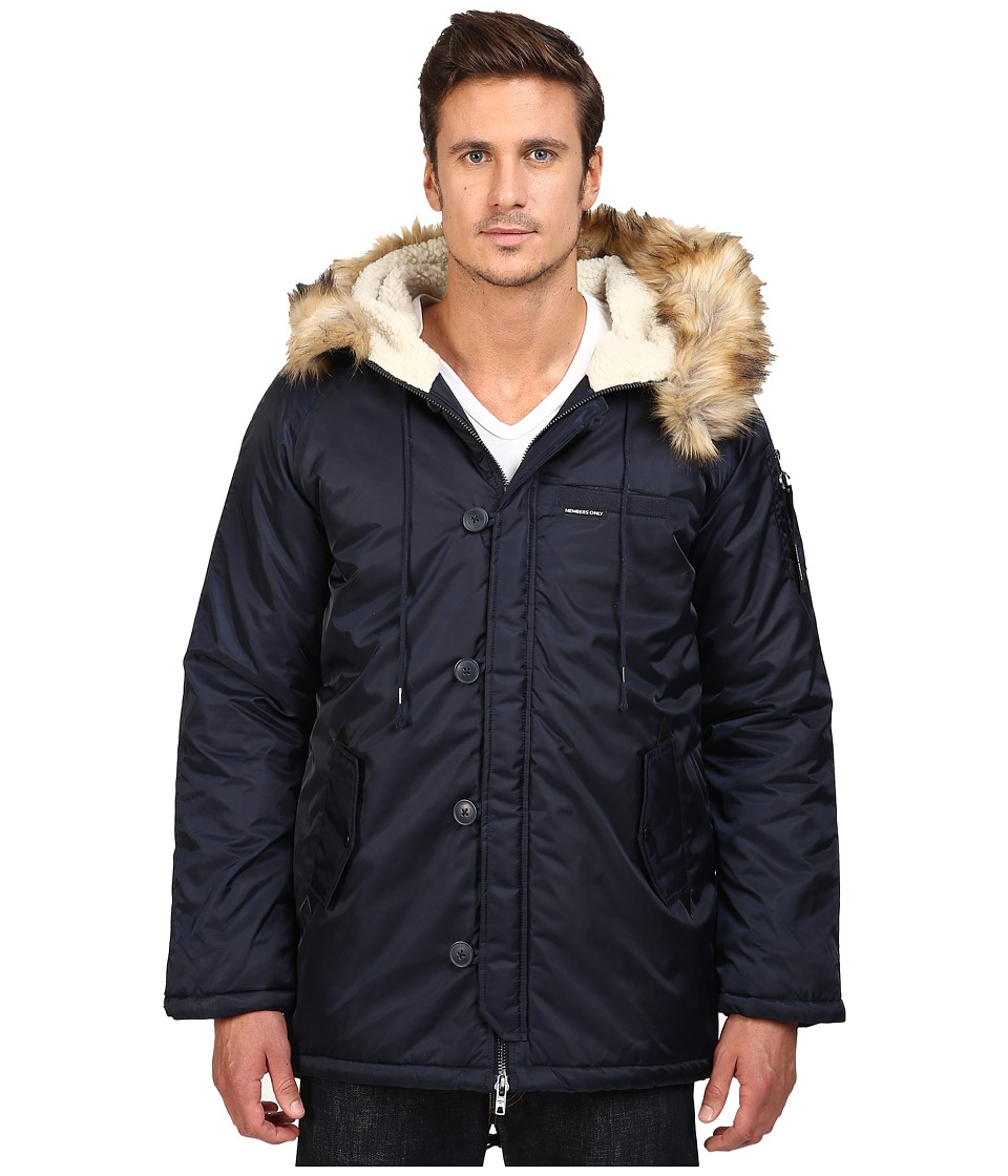Members Only - Military Long Hooded Parka with Fishtail (Navy) Men's Coat