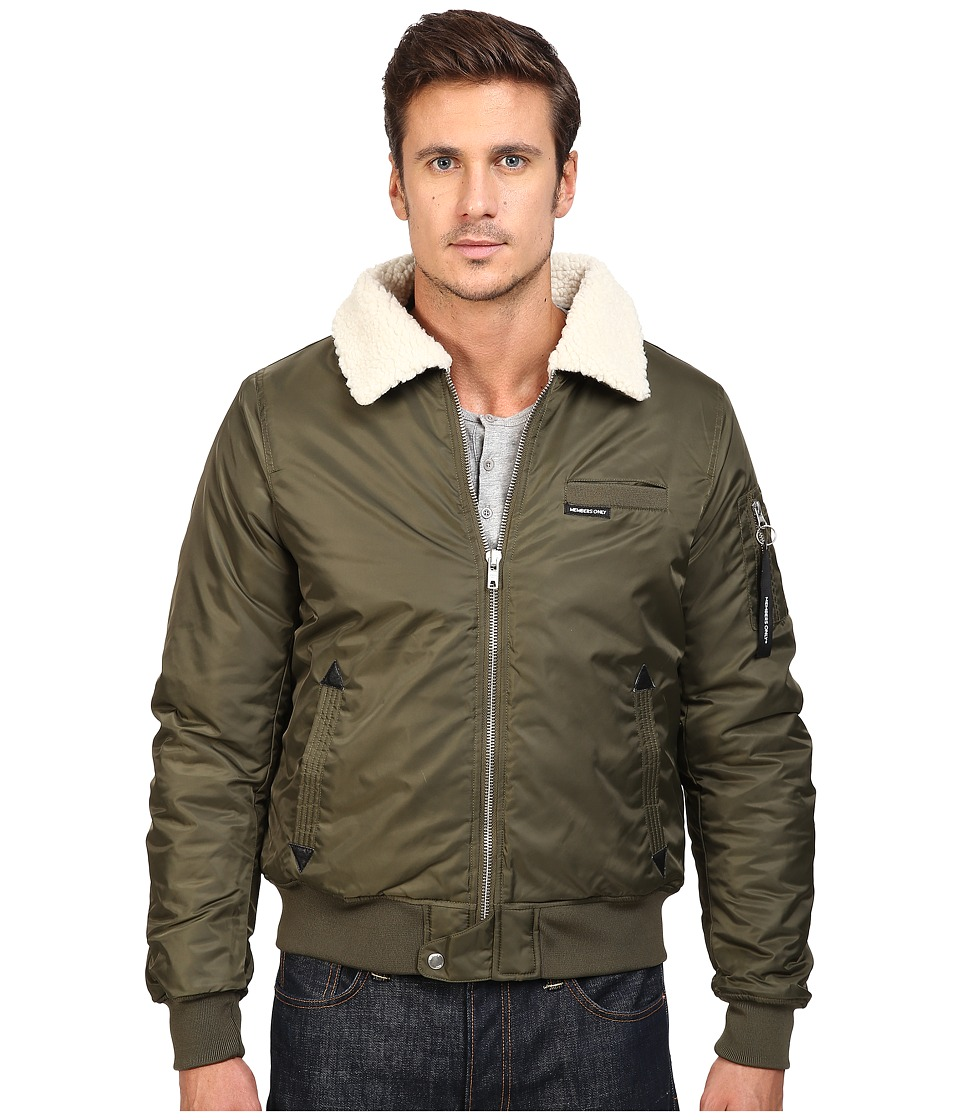 Members Only - Military Bomber Jacket with Sherpa Collar (Green) Men's Coat