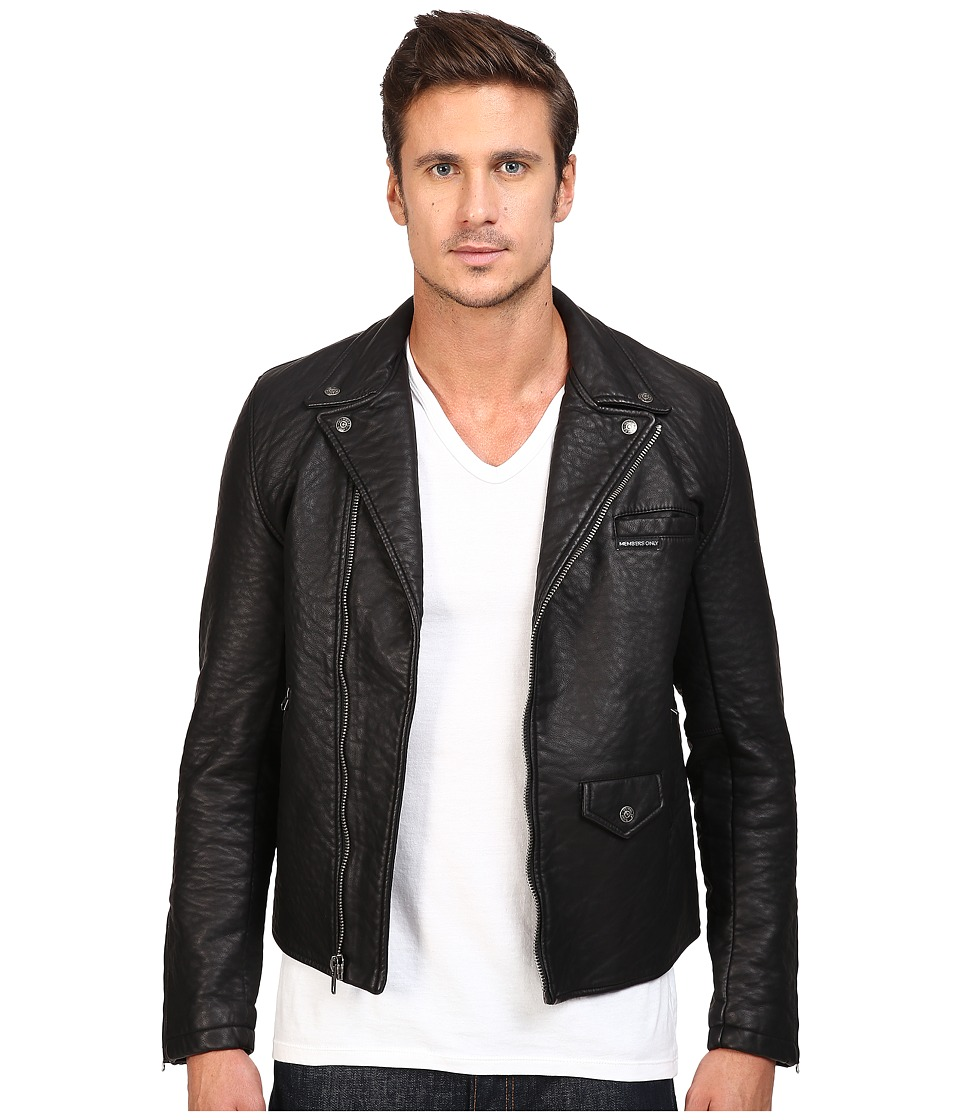 Members Only - Bubble PU Biker Jacket (Black) Men's Coat