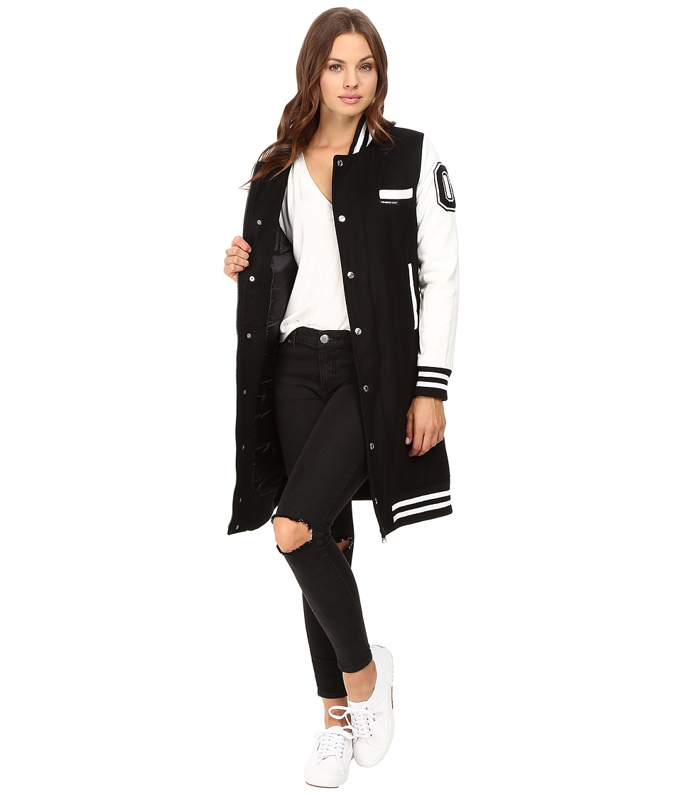 Members Only - Long Varsity Wool with PU Sleeves (Black) Women's Clothing