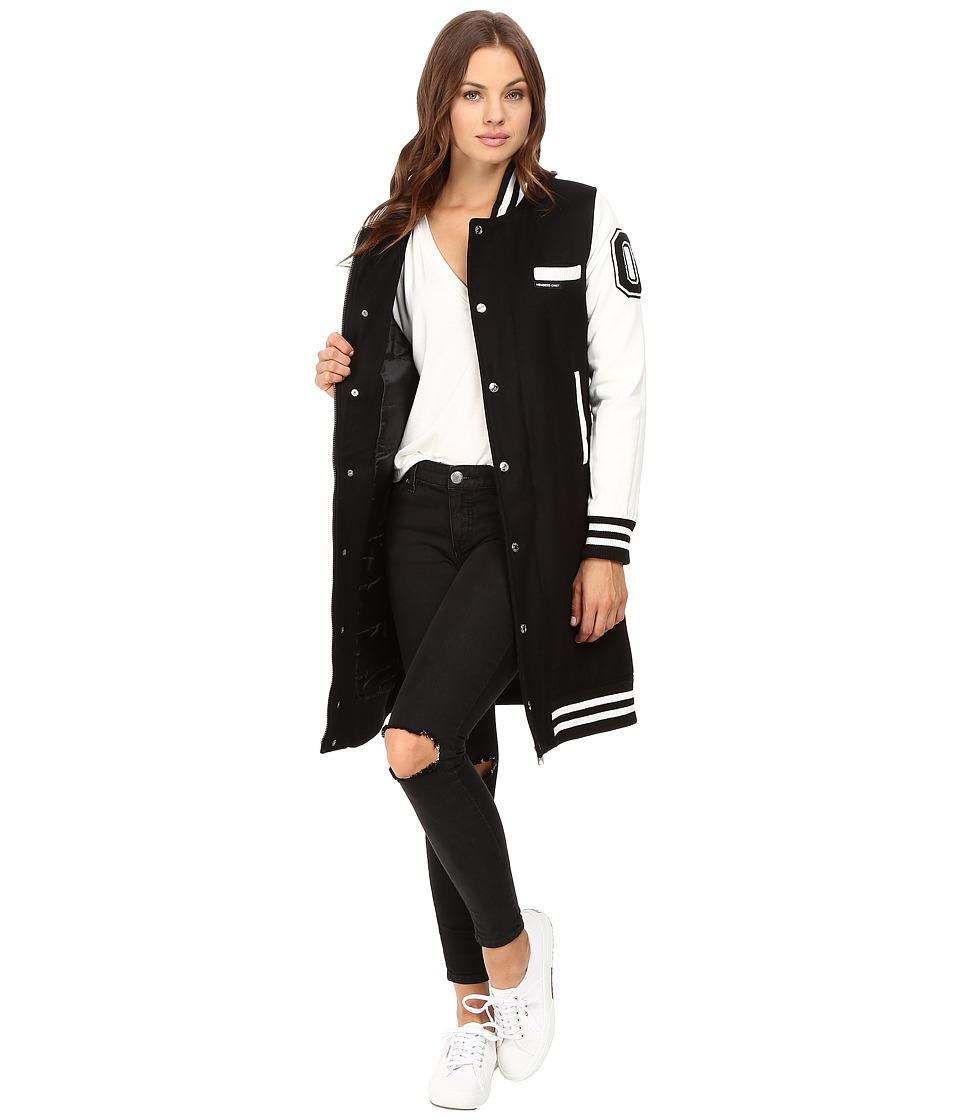 Members Only - Long Varsity Wool with PU Sleeves (Black) Women's Clothing