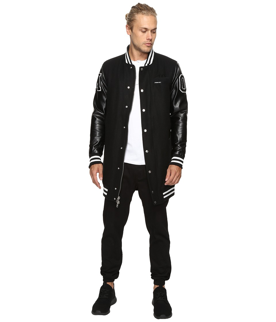 Members Only - Long Varsity Wool with PU Sleeves (Black) Men's Clothing