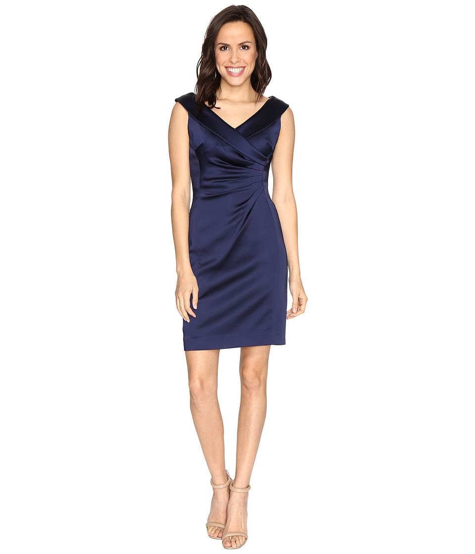 Tahari by ASL - Stretch Satin Sheath Dress with Side Ruche (Navy) Women's Dress