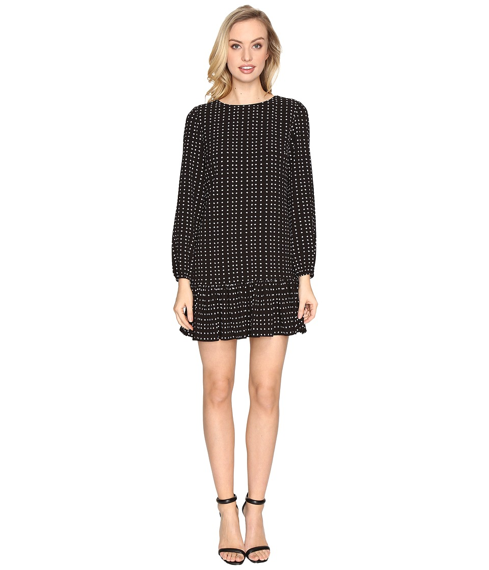 Tahari by ASL - Flounced Hem Dot Print Crepe Dress (Black/White) Women's Dress