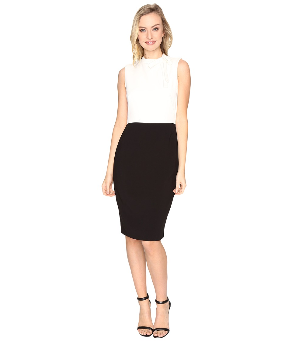 Tahari by ASL Bow Detail Contrast Sheath Dress (Black/Ivory) Women