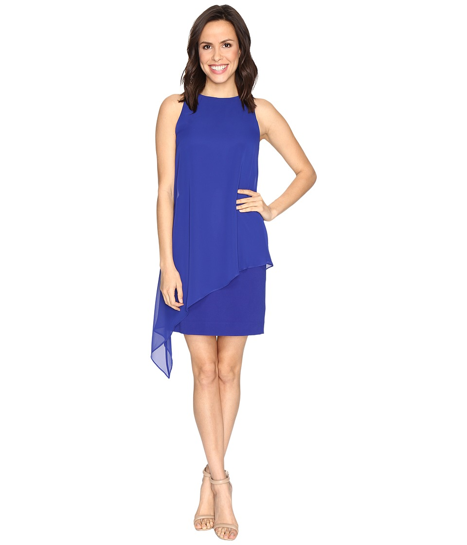 Tahari by ASL - Draped Chiffon Shift Dress (Cobalt) Women's Dress