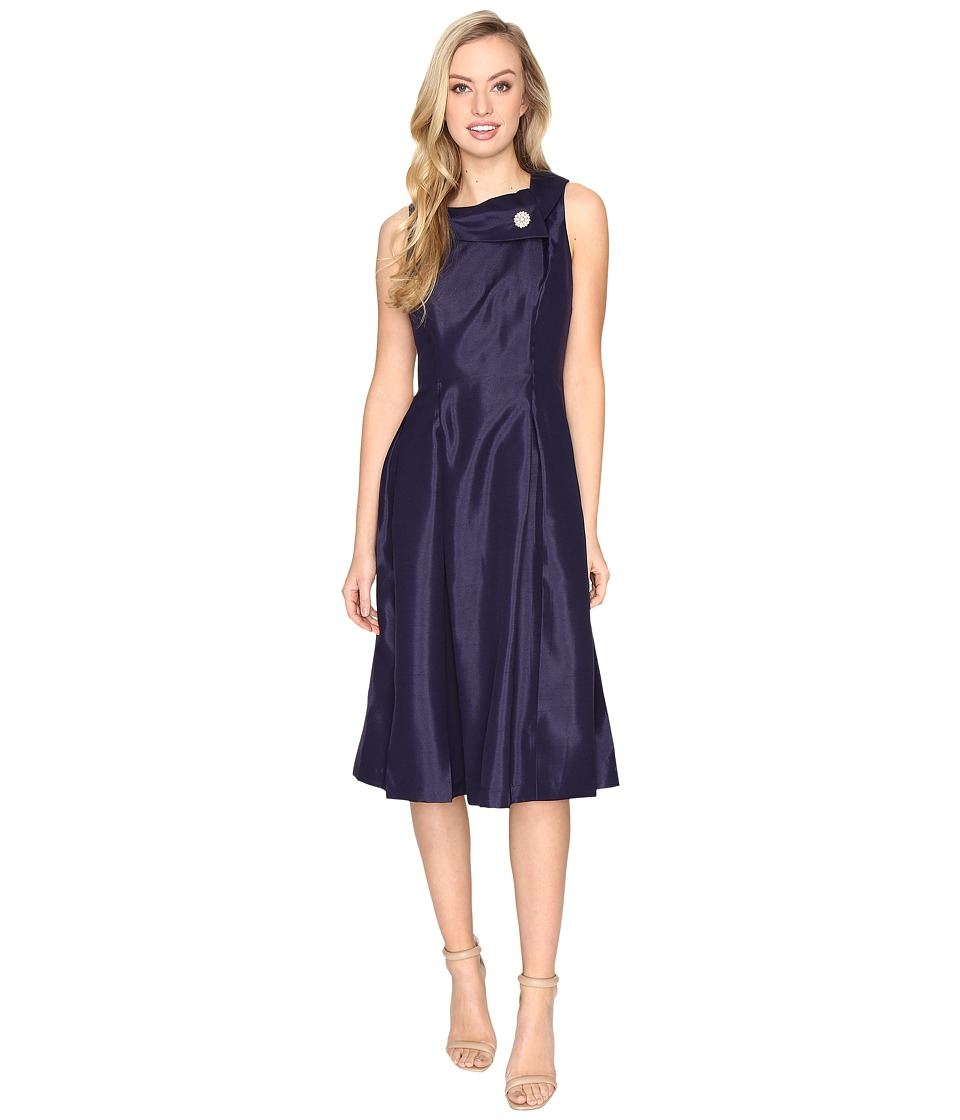 Tahari by ASL - Pearl Brooch Tea-Length Fit Flare Dress (Marine Blue) Women's Dress