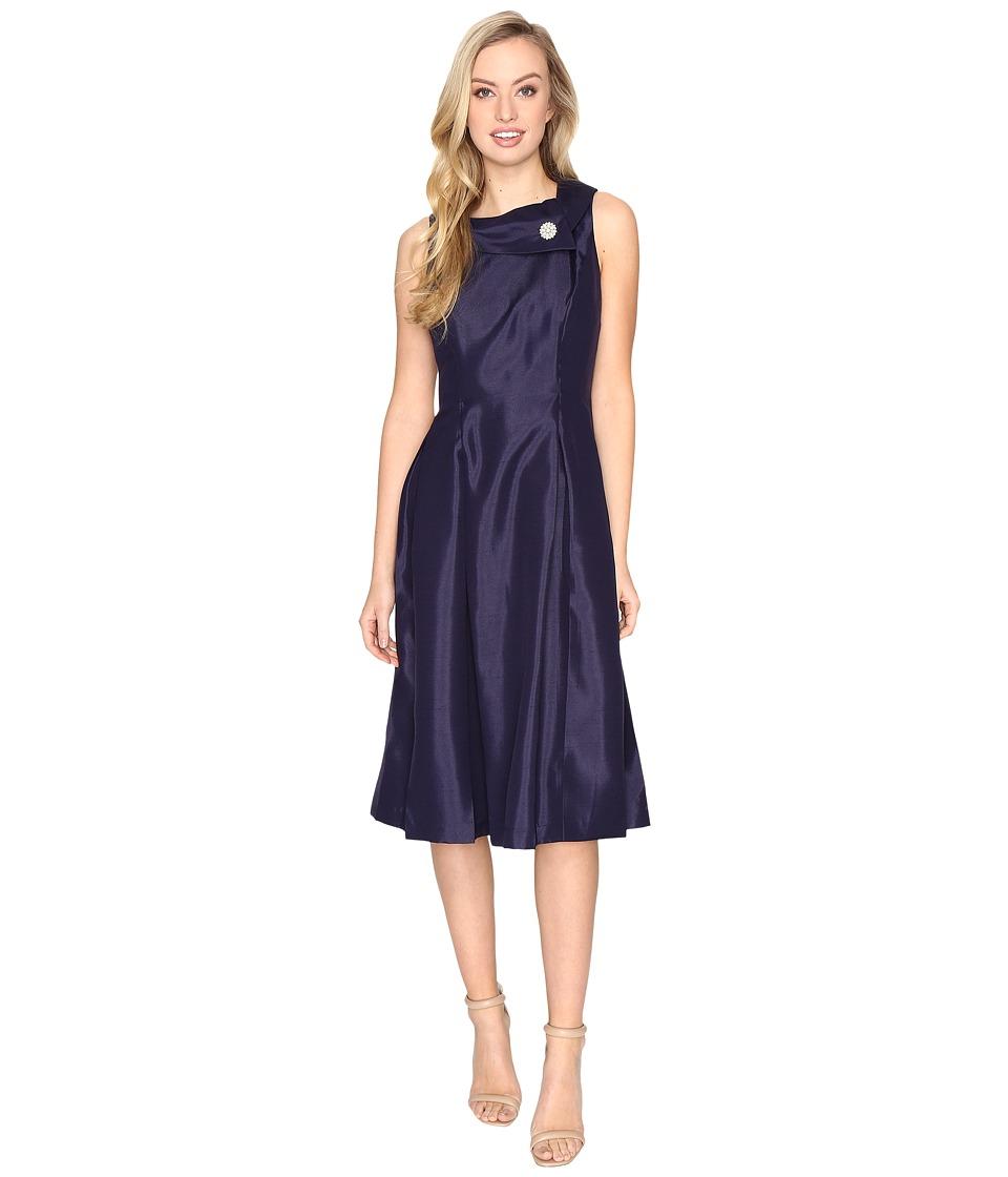 Tahari by ASL Pearl Brooch Tea-Length Fit Flare Dress (Marine Blue) Women