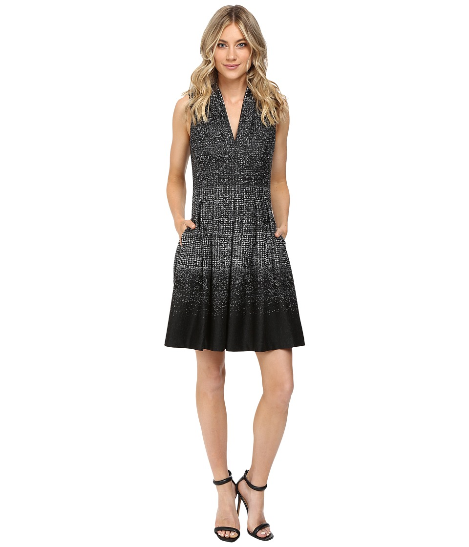 Vince Camuto Knit V-Neck Fit and Flare Dress (Black/White) Women
