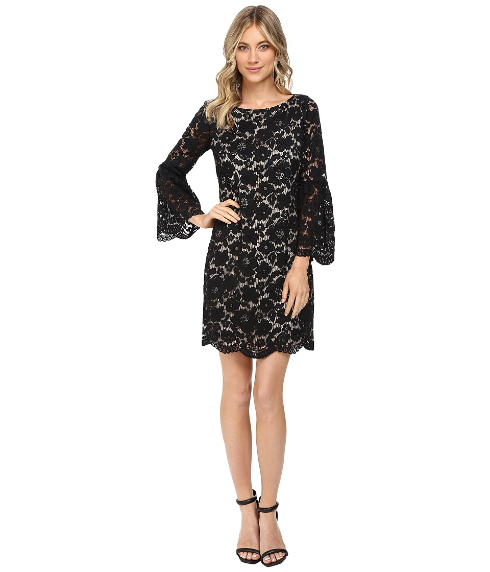 Vince Camuto - Lace Shift Dress w/ Flounce Sleeve and Scalloped Hem (Black) Women's Dress
