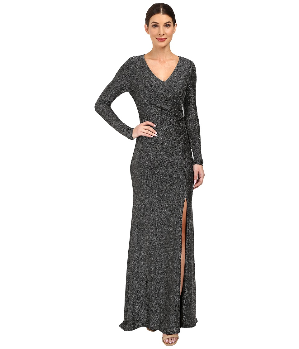 Vince Camuto - Long Sleeve V-Neck Gown w/ Side Tucks (Black/Silver) Women's Dress