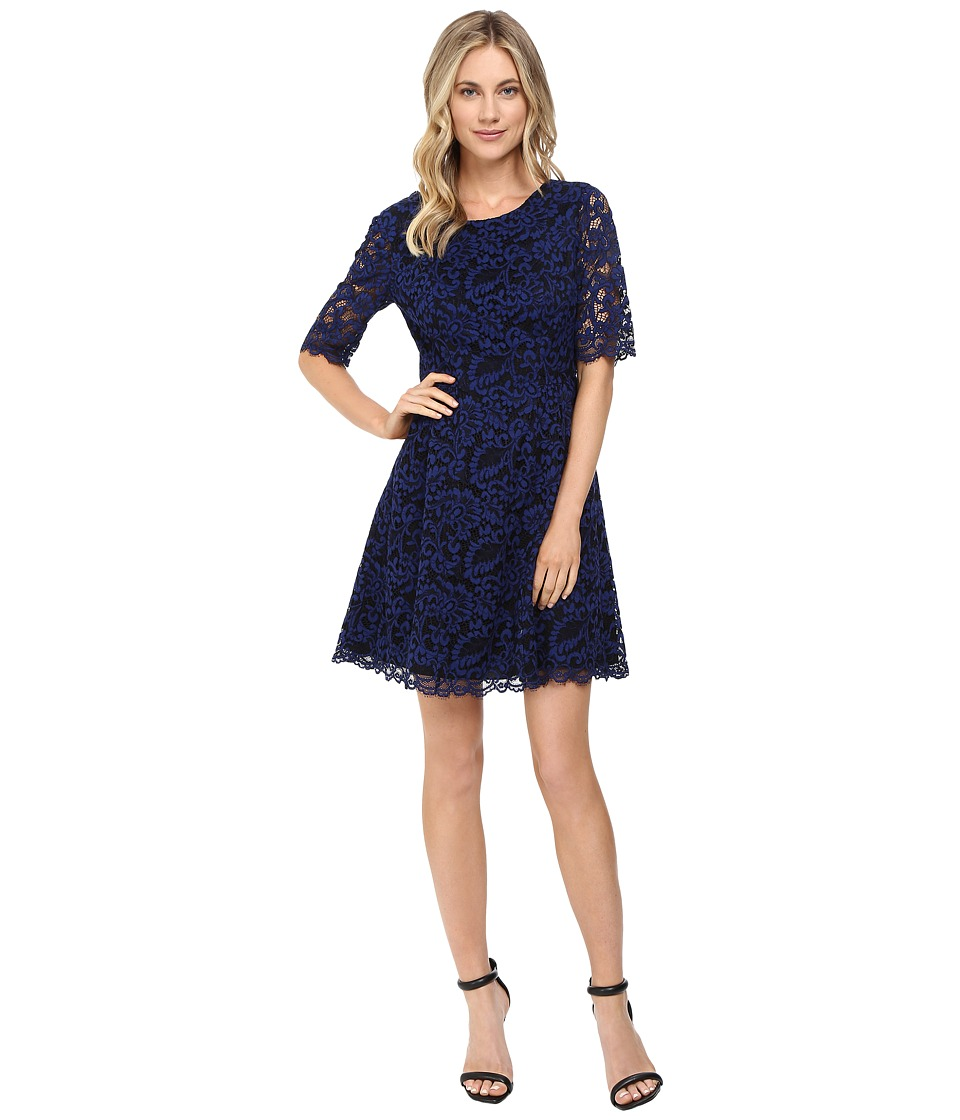 Vince Camuto Lace Elbow Sleeve Fit and Flare Dress w/ Shirring and V-Back (Blue) Women