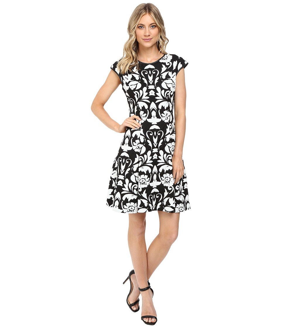 Vince Camuto Blister Knit Cap Sleeve Fit and Flare Dress (Black/White) Women