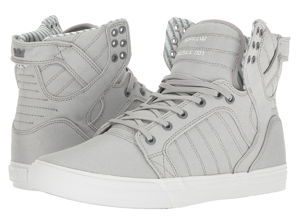 Supra - Skytop (Light Grey/White Canvas) Men's Skate Shoes