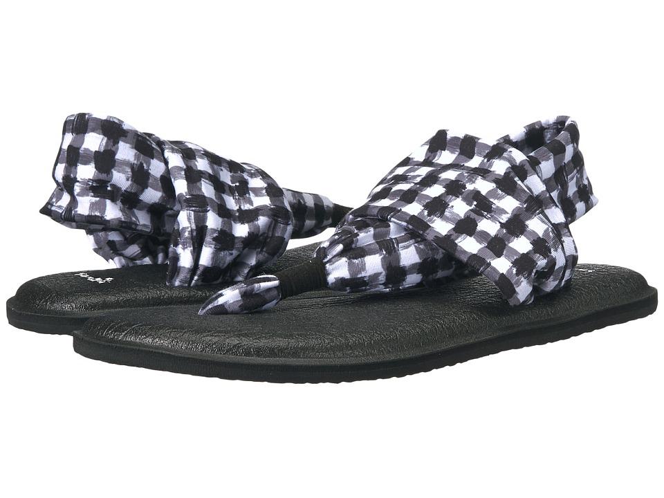 Sanuk - Yoga Sling 2 Prints (Black/White Gingham) Women's Sandals