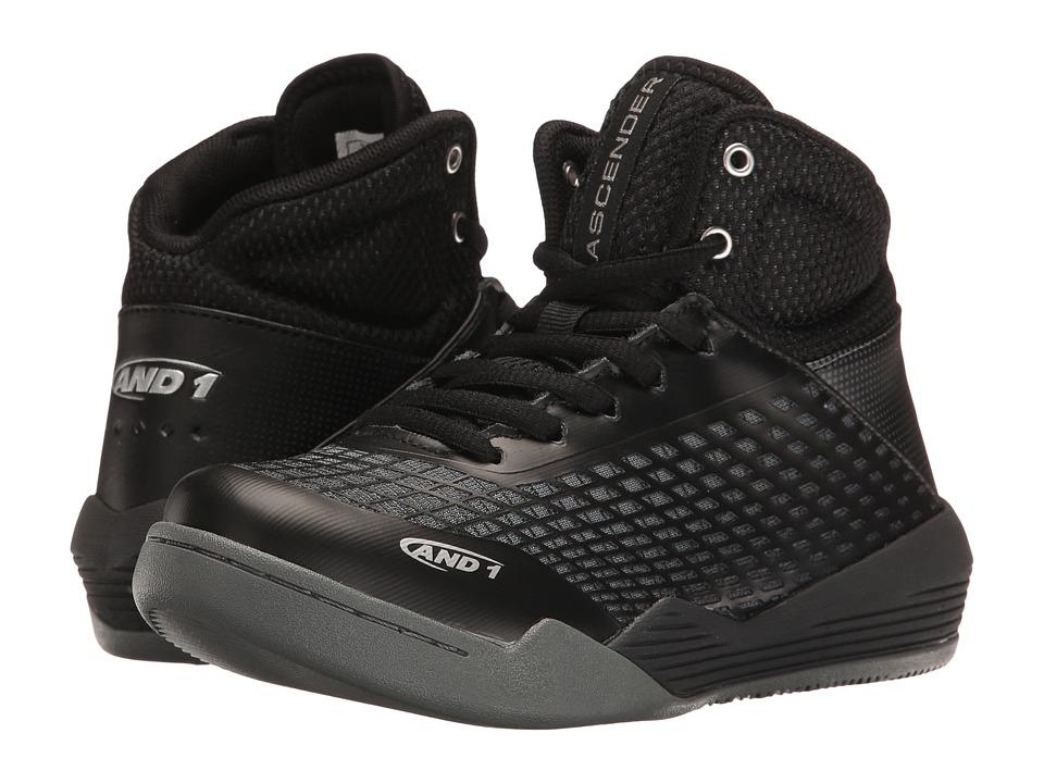 AND1 Kids Ascender (Little Kid/Big Kid) (Black/Castlerock/Silver/White) Boys Shoes
