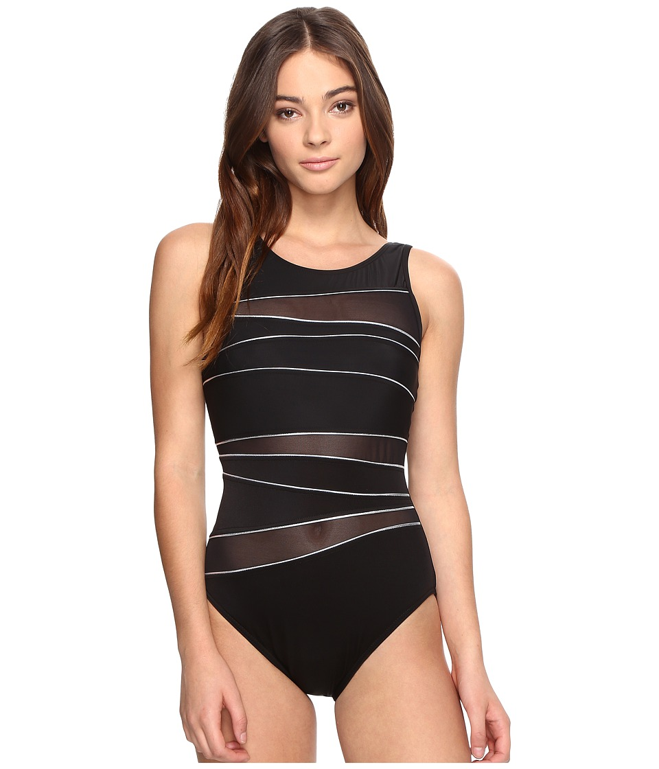Miraclesuit - Silver Streak Somerset One-Piece (Black/Silver) Women's Swimsuits One Piece