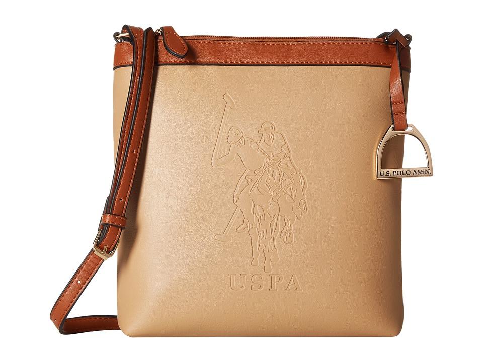 U.S. POLO ASSN. - Lia Embossed Crossbody (Beige) Cross Body Handbags