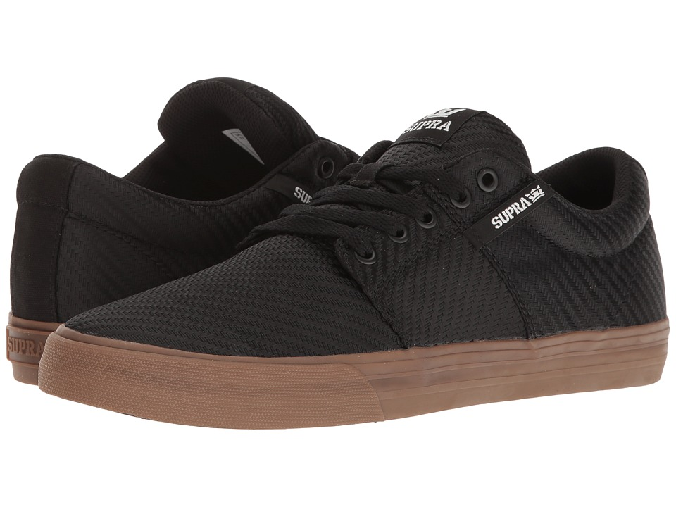 Supra - Stacks Vulc II (Black Woven/Gum) Men's Skate Shoes