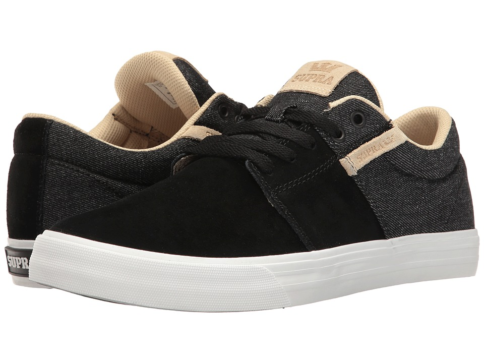 Supra - Stacks Vulc II (Black Wash/White) Men's Skate Shoes