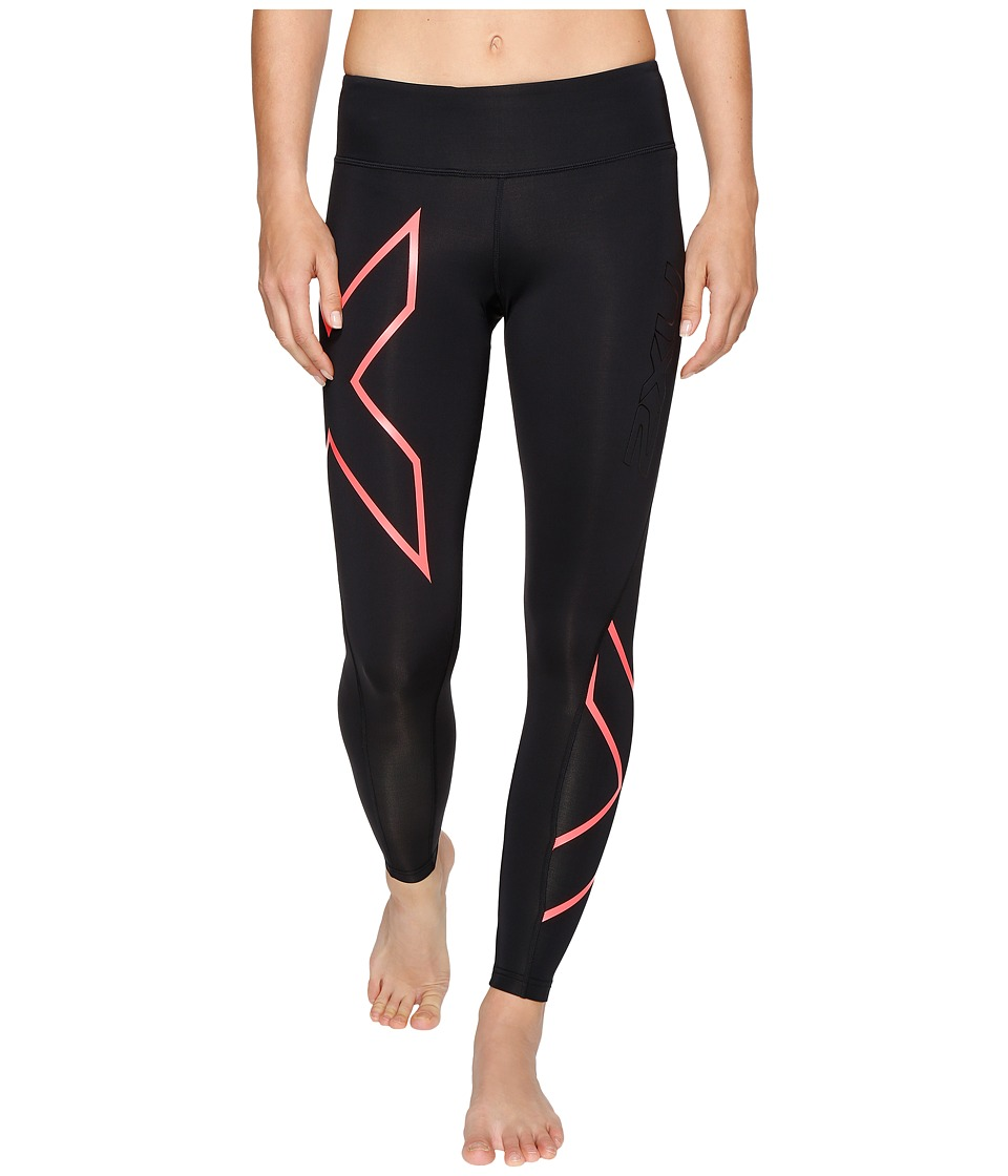 2XU - Mid-Rise Compression Tights (Black/Fiery Coral) Women's Workout