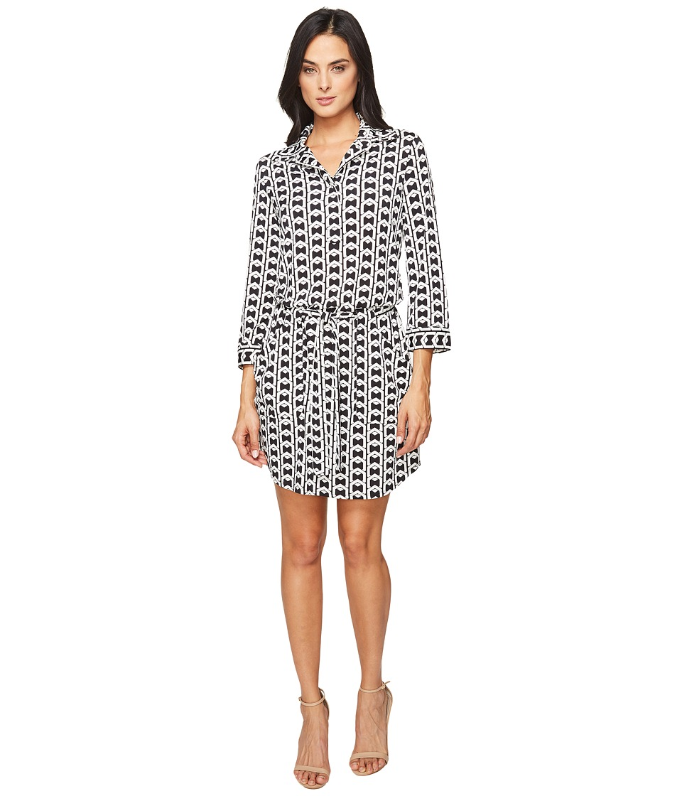 Laundry by Shelli Segal - 3/4 Sleeve Printed Shirtdress w/ Patch Pockets (Black) Women's Dress