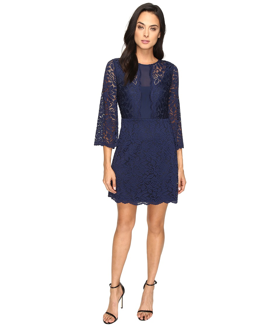 Laundry by Shelli Segal Belle Sleeve Stretch Lace Dress (Midnight) Women