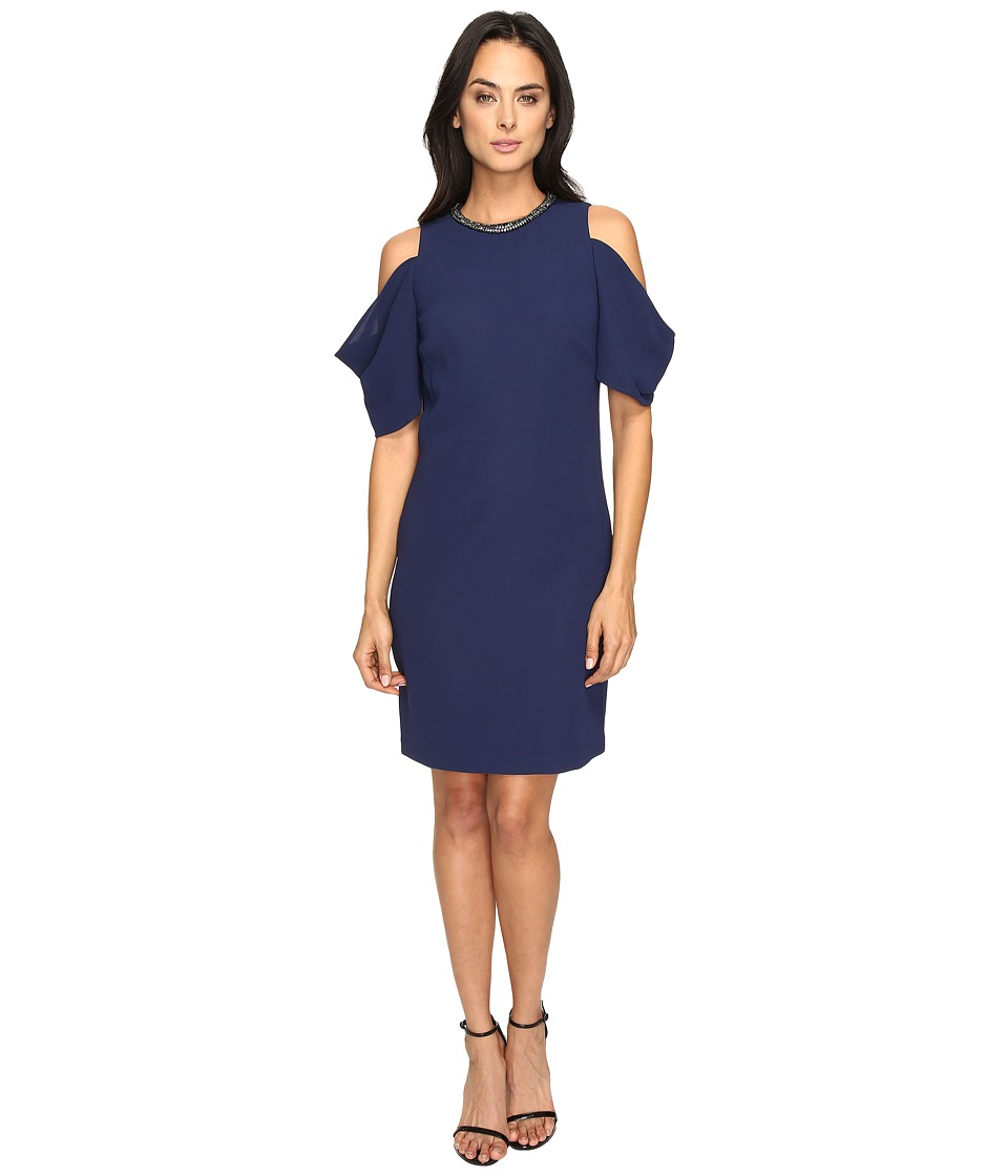 Laundry by Shelli Segal Embellished Neck Crepe Dress (Midnight) Women