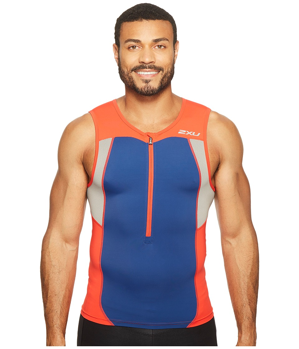 2XU - Active Tri Singlet (Team Red/Navy) Men's Workout