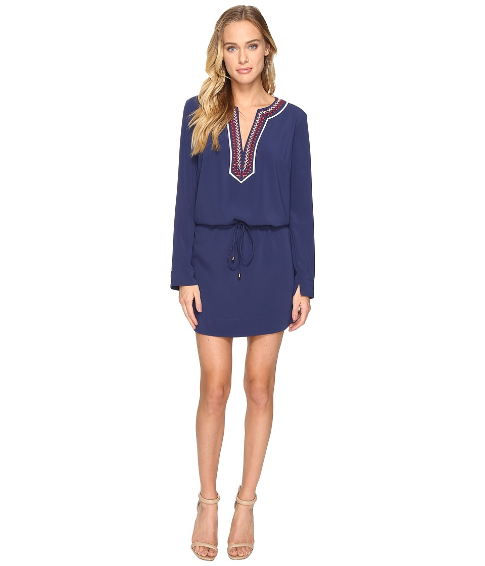 Laundry by Shelli Segal - Long Sleeve Dress w/ Tie At Waist (Midnight) Women's Dress