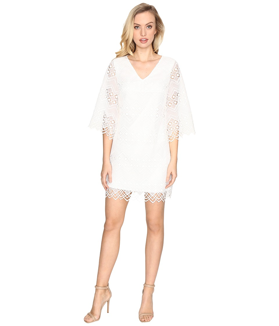 Laundry by Shelli Segal - Bell Sleeve Dress w/ V-Back and Scallop Hem (Marshmallow) Women's Dress