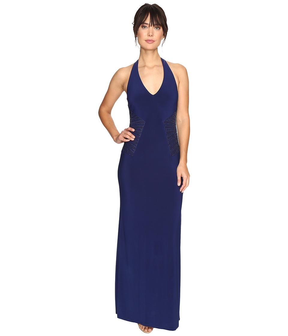 Laundry by Shelli Segal - Embellished Halter Gown (Midnight) Women's Dress