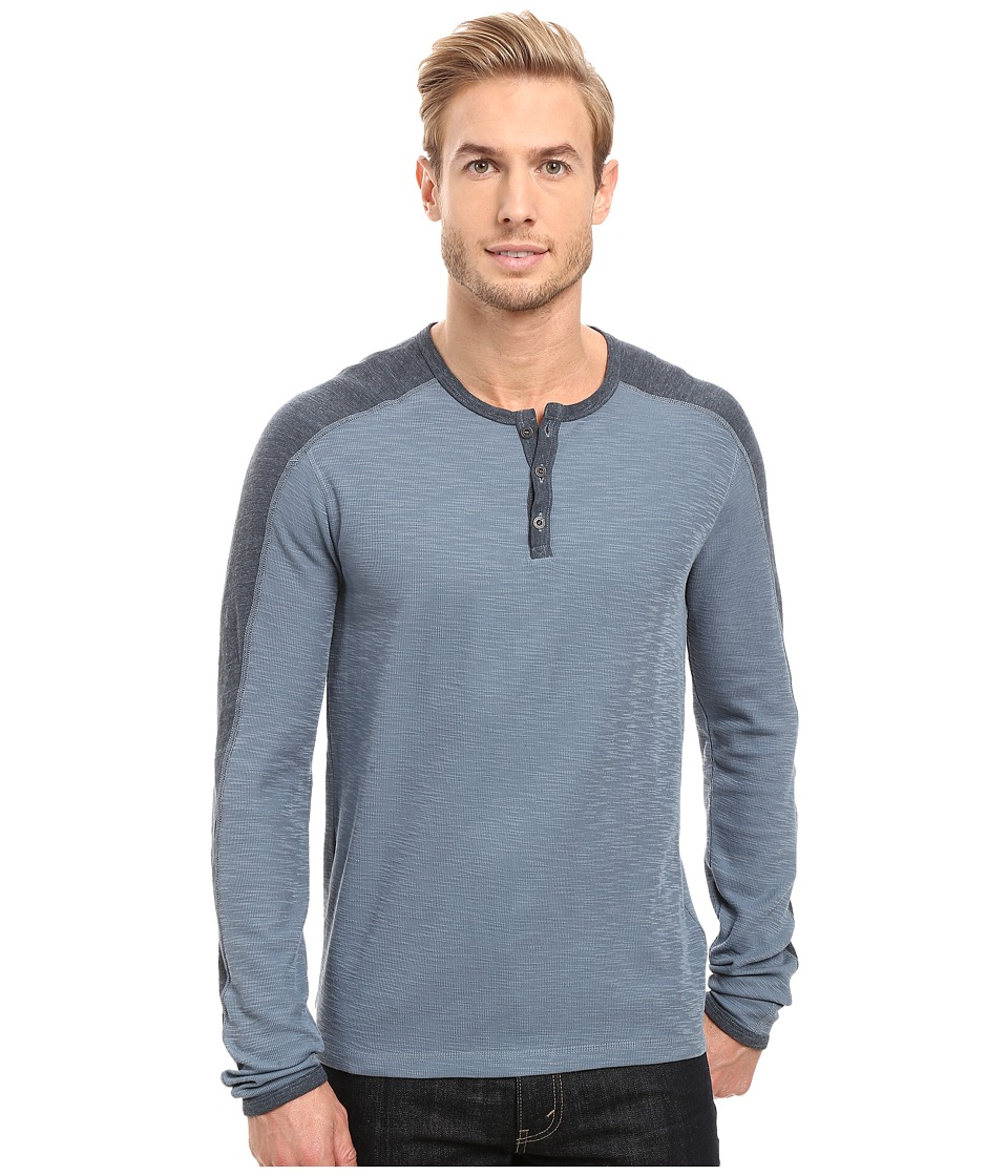 Agave Denim - Calico Long Sleeve Slub Color Block (China Blue) Men's Long Sleeve Pullover