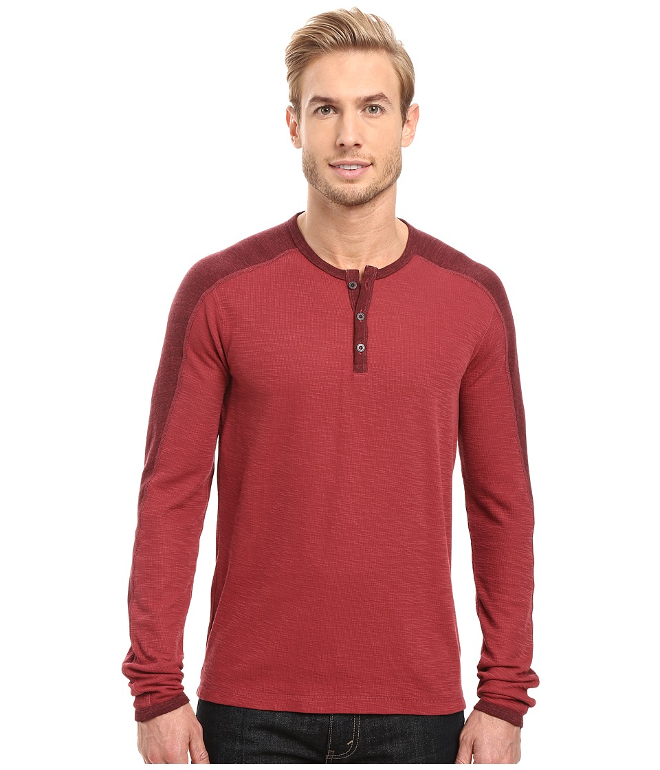 Agave Denim - Calico Long Sleeve Slub Color Block (Rosewood) Men's Long Sleeve Pullover