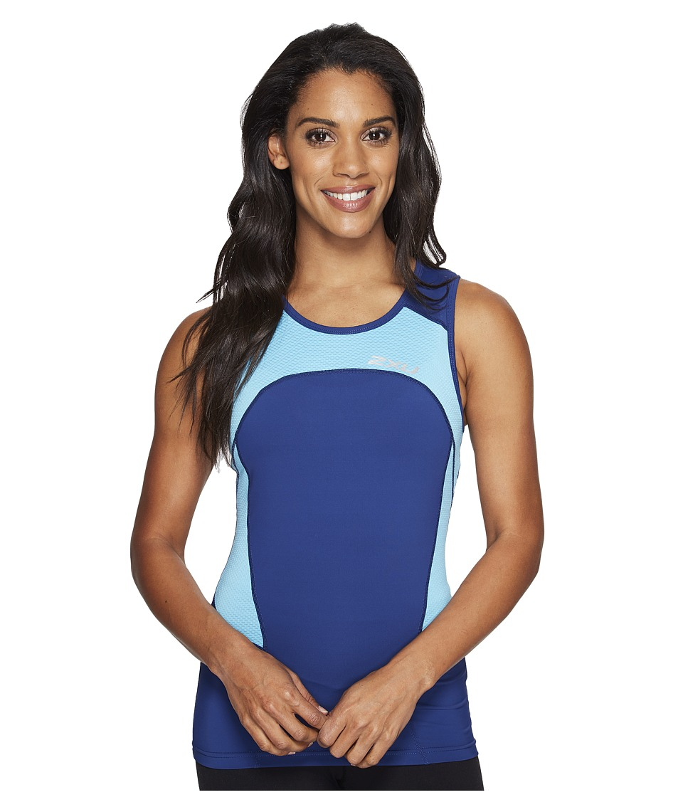 2XU - Active Tri Singlet (Blue Atoll/Navy) Women's Workout