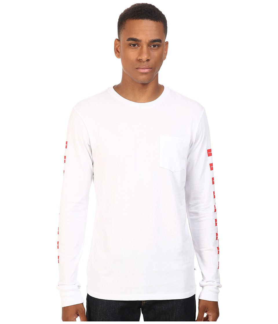 HUF - HUF x Chocolate Checkered Long Sleeve Pocket Tee (White) Men's T Shirt