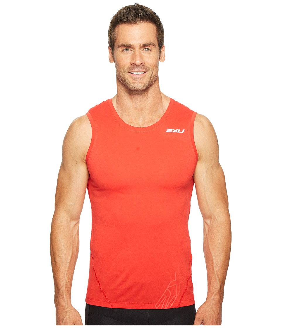 2XU - X-CTRL Muscle Tank Top (Flame Scarlet/Black) Men's Sleeveless