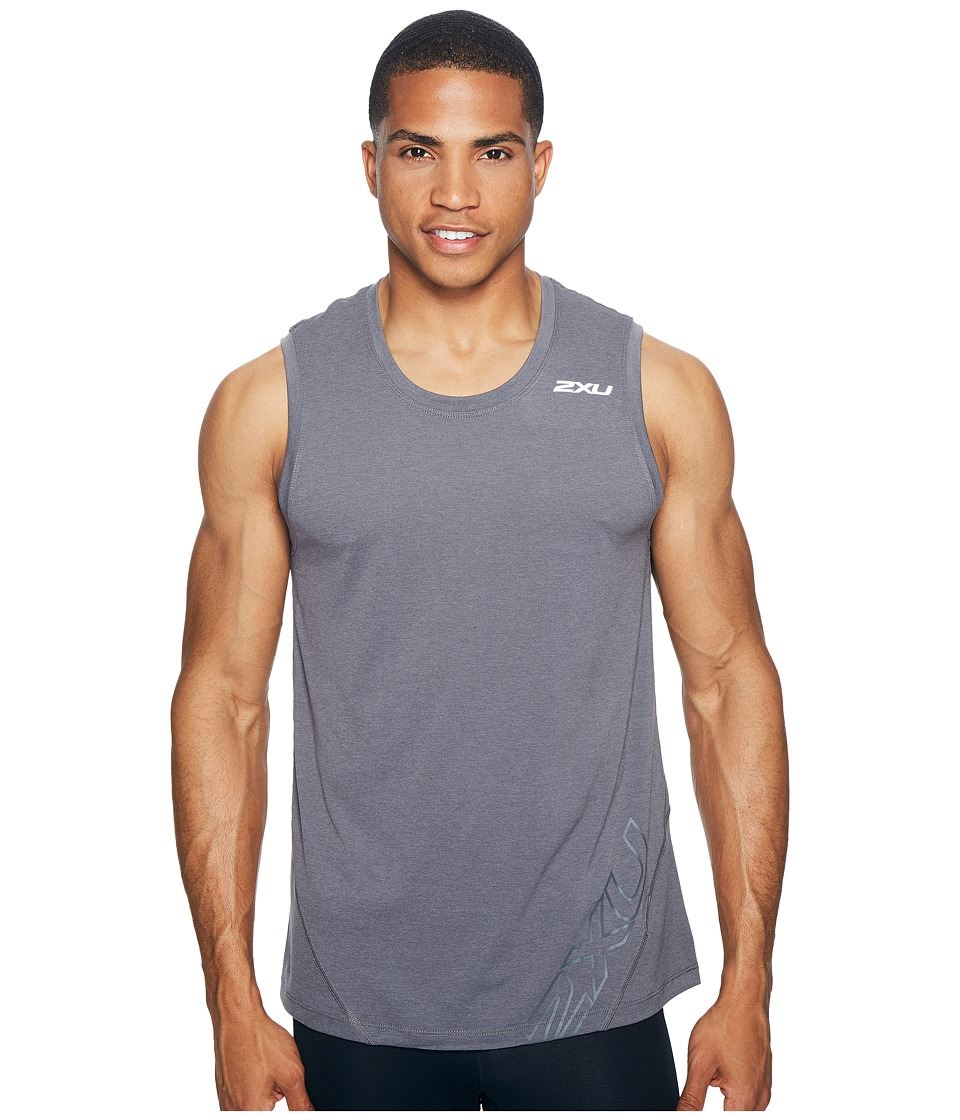 2XU - X-CTRL Muscle Tank Top (Charcoal/Black) Men's Sleeveless