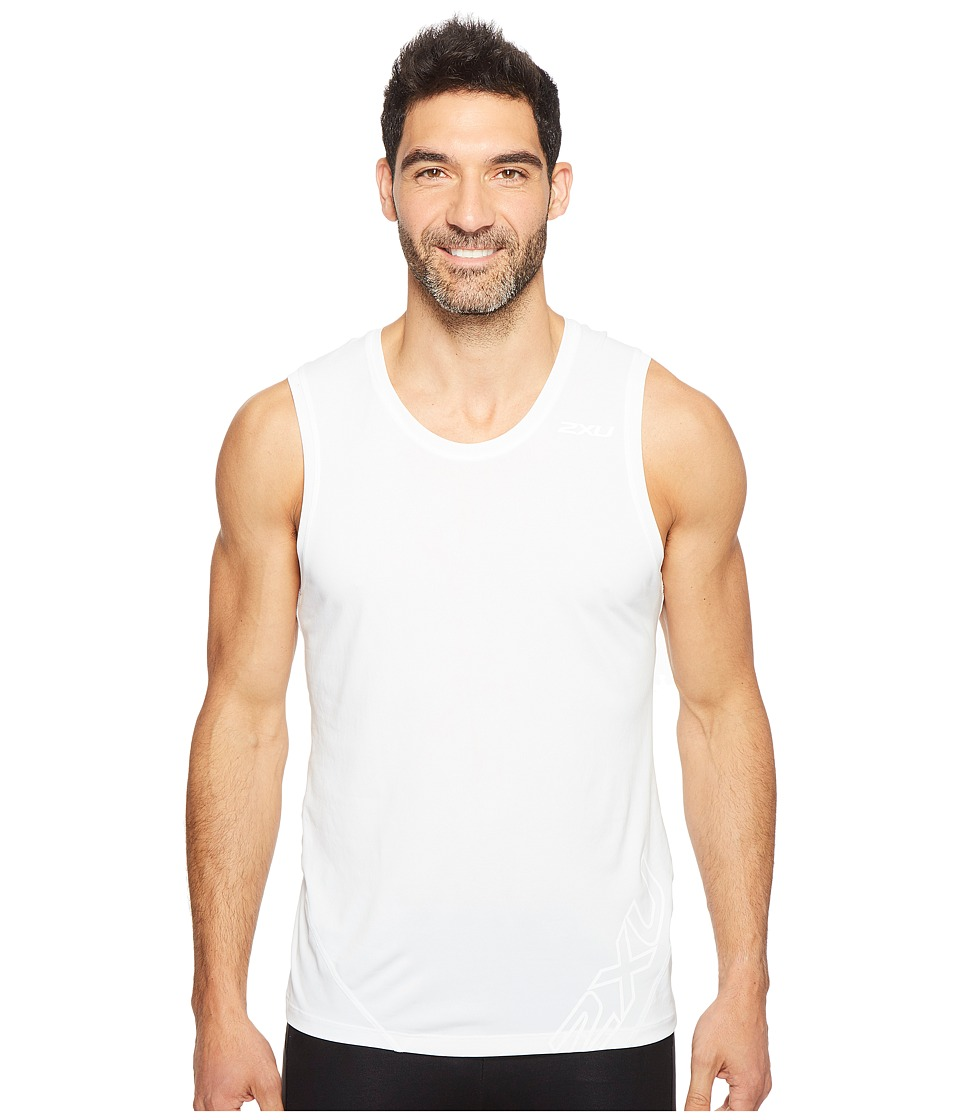 2XU - X-CTRL Muscle Tank Top (White/Black) Men's Sleeveless