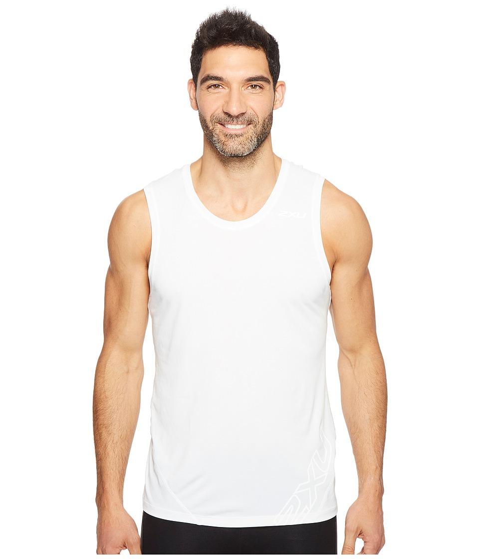 2XU - X-CTRL Muscle Tank Top (White/Black) Men's Sleeveless