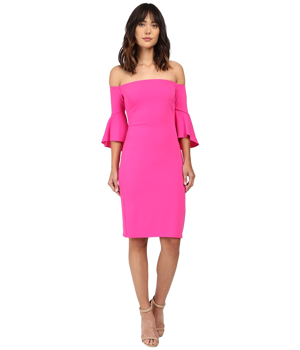 Laundry by Shelli Segal - Montreal Stretch Crepe Off the Shoulder Cocktail (Hot Magenta) Women's Clothing