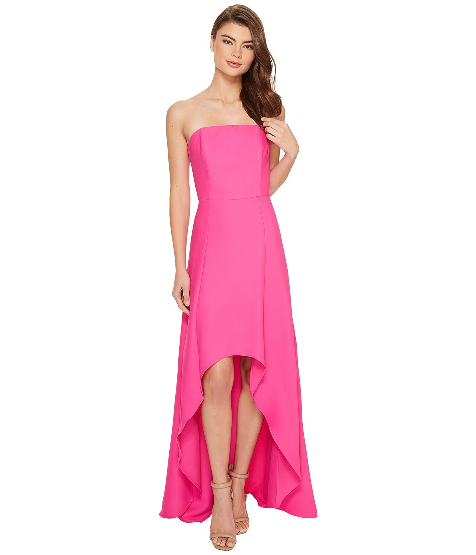 Laundry by Shelli Segal Strapless High-Low Crepe Gown (Hot Magenta) Women
